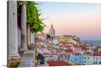 Portugal, Lisbon, Alfama, View Towards Historical Centre And National Pantheon