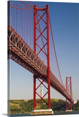 Portugal, Lisbon, April 25th Bridge and the Cristo Rei in the background