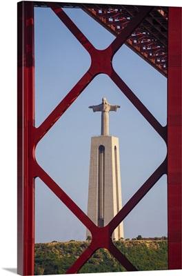 Portugal, Lisbon, April 25th Bridge, and the Cristo Rei in the background