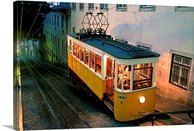 Portugal, Lisbon, funicular that connects downtown with Barrio Alto
