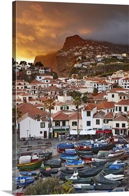 Portugal, Madeira, Camara de Lobos at sunset