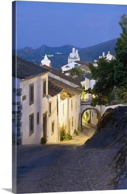 Portugal, Portalegre, Medieval town of Marvao street scene at night
