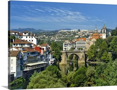 Portugal, Porto, Amarante, Roman bridge over Tamega River and Sao Goncalo convent