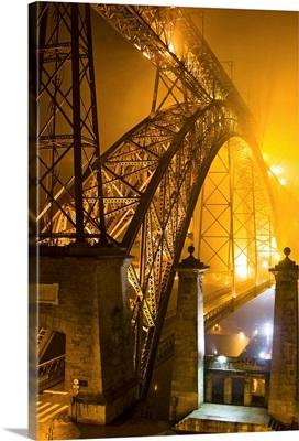 Portugal, Porto, Dom Luis Bridge in a misty night