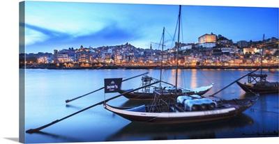 Portugal, Porto, Douro, porto, panoramic view of typical boat in the Douro river