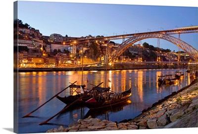Portugal, Porto, Porto, Oporto, Douro river and Ponte Dom Luis I bridge