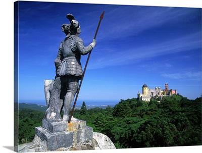 Portugal, Sintra, Palacio da Pena, statue of Baron Von Eschwege