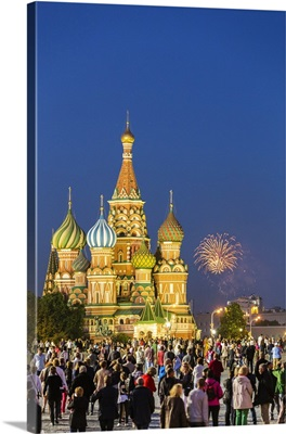 Russia, Moscow, Red Square, Saint Basil's Cathedral, Fireworks
