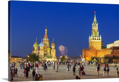 Russia, Moscow, Red Square, Saint Basil's Cathedral, Fireworks with Spasskaya Tower