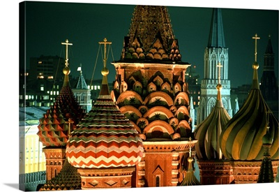 Russia, Moscow, Saint Basil's Cathedral and Kremlin's Towers