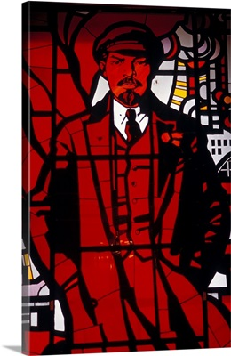 Russia, Saint Petersburg, Museum of Russian Revolution, Lenin portrait on stained glass
