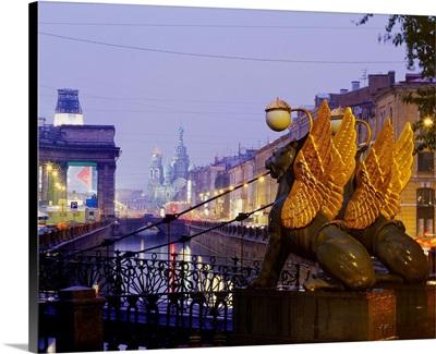 Russia, Saint Petersburg, View towards the Church of Christ Resurrection