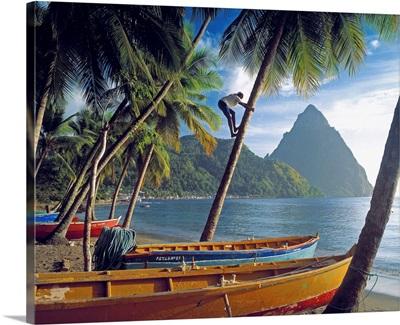 Saint Lucia, Caribbean, Soufriere and Petit Piton Mountain