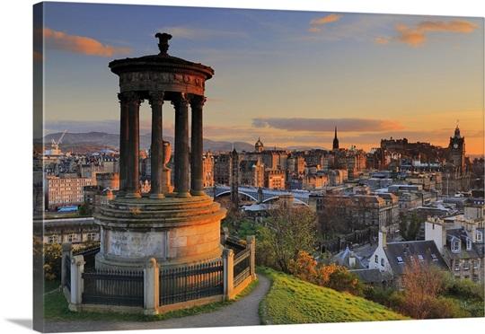 Scotland Edinburgh Calton Hill Dugald Stewart Monument And The