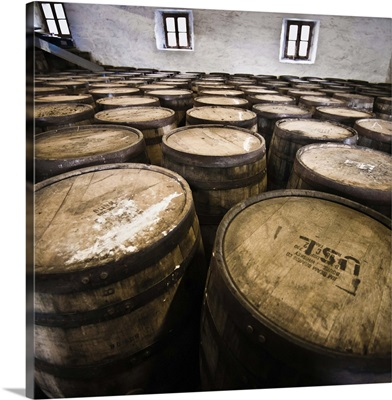 Scotland, Inner Hebrides, Jura Island, Jura whisky distillery barrel storage