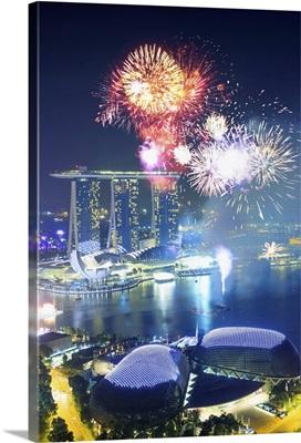 Singapore City, Chinese New Year fireworks at Singapore marina