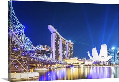 Singapore City, Laser show at Marina Bay Sands at night