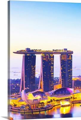 Singapore City, Marina Bay Sands and marina at sunrise