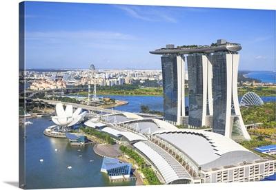 Singapore City, Marina Bay Sands from Level 33 bar