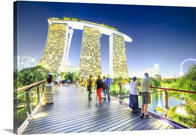 Singapore City, Marina Bay Sands, view from Gardens by the Bay park