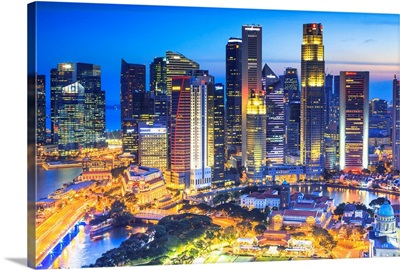 Singapore City, Singapore marina at night