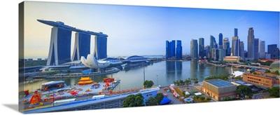 Singapore City, Singapore marina at sunrise with the Marina Bay Sands Hotel