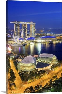 Singapore City, Singapore marina with Marina Bay Sands at night