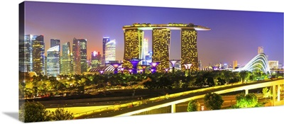 Singapore City, Singapore skyline with Marina Bay Sands and Gardens by the Bay