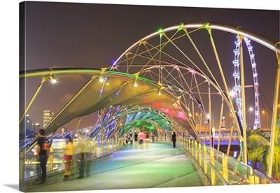Singapore, Helix bridge at night