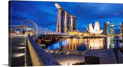 Singapore, Singapore City, Helix Footbridge, Marina Bay Sands Hotel