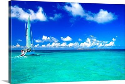 South America, Venezuela, Los Roques, Los Roques National Park, sailing ship