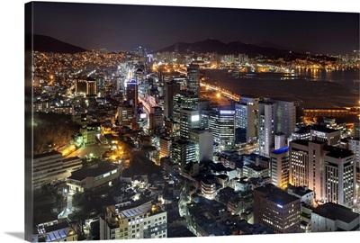 South Korea, Pusan-si, city center  and the Busan International Ferry Terminal