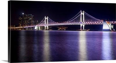 South Korea, Pusan-si, Gwangan Bridge, view from Gwangalli Beach