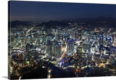South Korea, Seoul, Namsan Park, Myeong-dong District in the foreground