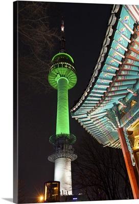 South Korea, Seoul, Namsan Park, N Seoul Tower and Palgakjeong