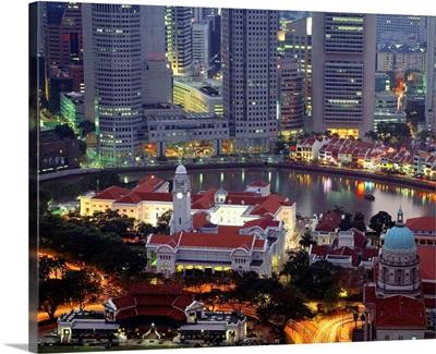 Southeast Asia, Singapore, Singapore river and Victoria Theatre