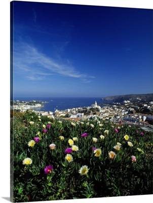 Spain, Catalonia, Costa Brava, Cadaques, panoramic view of the town