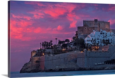 Spain, Peniscola, The Old Town On Top The Castle Built By The Knights Templar
