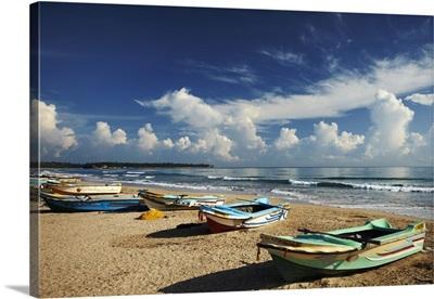 Sri Lanka, Eastern Province, Uppuveli, Fishing boats on beach