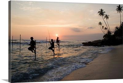 Sri Lanka, Southern Province, Stick fishermen