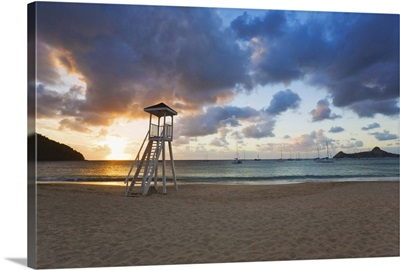 St Lucia, Gros Islet, Rodney Bay, Reduit Beach sunset, Pigeon Island in the background
