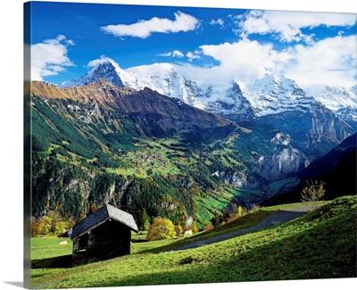 Switzerland, Bern, View from Wengen village towards Jungfrau mountain