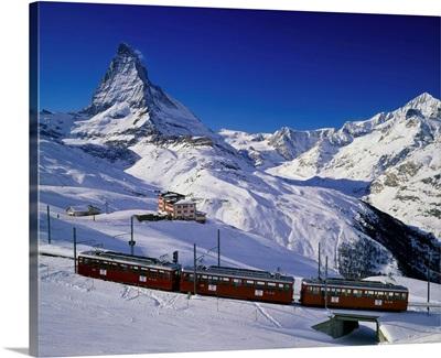 Switzerland, Valais, Zermatt, train and Matterhorn