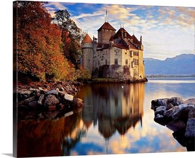 Switzerland, Vaud, Lake Geneva, Castle of Chillon, near Montreux town