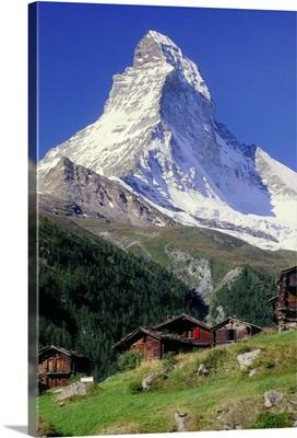 Switzerland, Zermatt, Matterhorn and Winkelmatten village