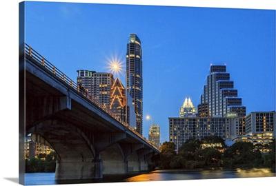 Texas, Austin, Congress Avenue bridge looking toward Texas State Capital
