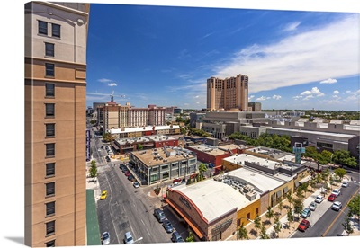 Texas, Austin, downtown restaurants and Austin Convention Center and Hilton Hotel