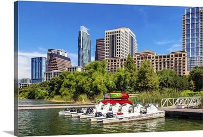 Texas, Austin downtown skyline from Colorado River