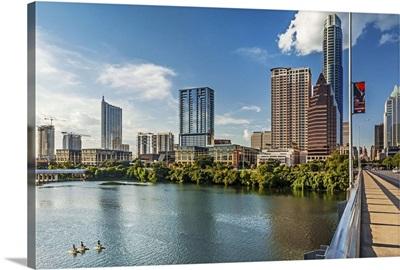 Texas, Austin downtown skyline from Congress Ave Bridge