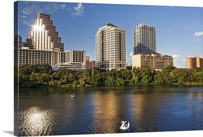 Texas, Austin, view over Colorado River from Congress Ave Bridge